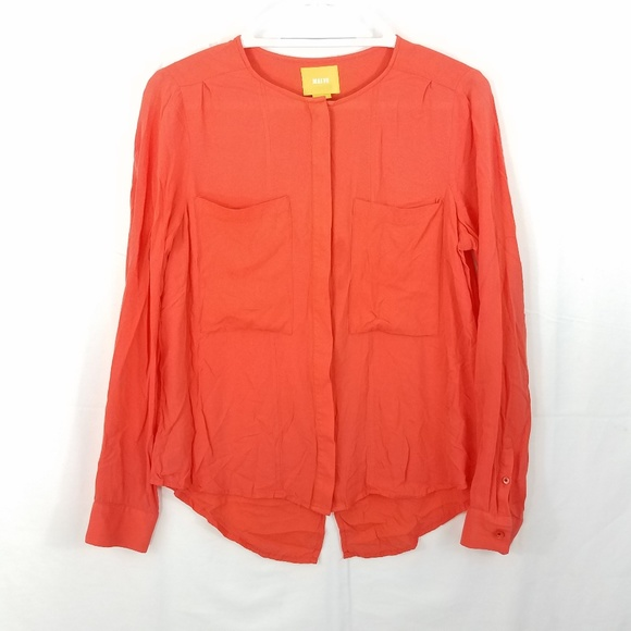 Anthropologie Tops - Maeve Clara Coral Back Split Blouse